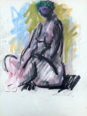 Untitled 1963 sitting nude pastel by Hans Burkhardt.