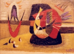 """Sold oil painting entitled """"Masquerade"""" by Werner Drewes."""