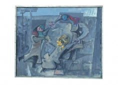 """Frame of 1964 painting """"Fasnacht"""" by Hans Burkhardt."""