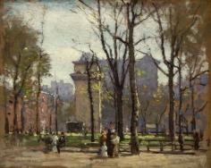 "Oil painting by Paul Cornoyer entitled ""Washington Square Park""."