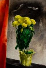 William Schwartz oil painting of mums.