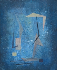 Albert Patecky untitled blue abstract oil painting.