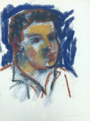 Untitled 1963 pastel of a boy's head by Hans Burkhardt.