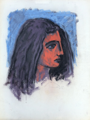 Untitled 1972 pastel of woman's head by Hans Burkhardt.