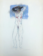 Untitled 1970 pastel of standing nude by Hans Burkhardt.