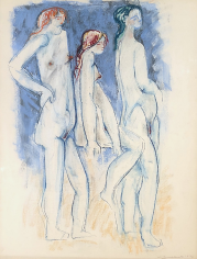 Hans Burkhardt untitled 1972 pastel of three nudes.