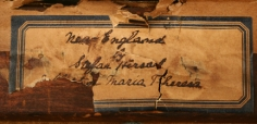 """Label verso of """"New England"""" by Stefan Hirsch."""