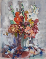 John Costigan 1966 watercolor of a flower arrangement.