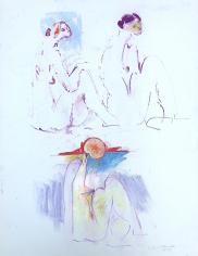 Untitled pastel of three nudes by Hans Burkhardt.