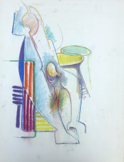 Untitled 1971 abstract pastel by Hans Burkhardt.