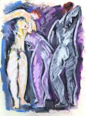 Untitled 1974 pastel of three nudes by Hans Burkhardt.
