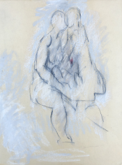 Untitled 1964 pastel of two nude seated figures by Hans Burkhardt.