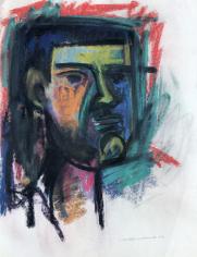 Untitled 1963 pastel of a man's head by Hans Burkhardt.