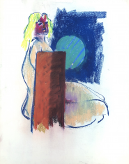 Untitled 1972 Hans Burkhardt pastel.