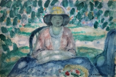 """Frederick Frieseke watercolor entitled """"In the Garden, Giverny""""."""