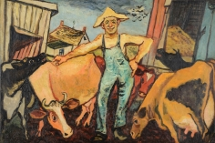 "Gregorio Prestopino oil painting entitled ""The Happy Farmer""."