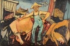 """Gregorio Prestopino oil painting entitled """"The Happy Farmer""""."""
