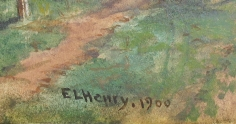 """Signature """"Delaware & Hudson Canal, Ellenville, NY"""" by E.L. Henry."""
