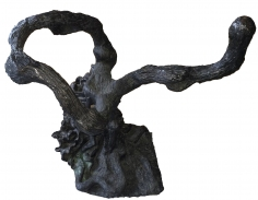 Bronze sculpture by Yulla Lipchitz of seated woman twined with tree trunk.