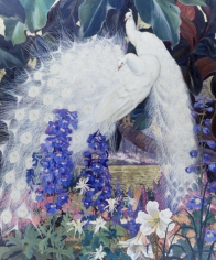 """Jessie Arms Botke sold painting """"White Peacocks""""."""