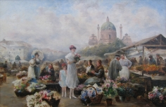 Emil Barbarini oil painting of Vienna Flower Market.