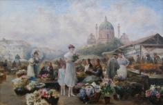 Emil Barbarini oil painting of Vienna Flower Market.