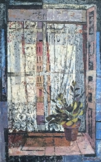 Jenne Magafan oil painting of a lace curtain in window.