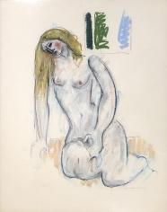 Untitled 1971 pastel of a nude woman kneeling by Hans Burkhardt.
