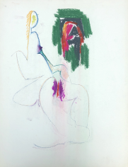 Untitled 1970 nude pastel by Hans Burkhardt.