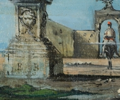 """Signature on """"Vue Imaginaire de Rome"""" by Eugene Berman."""