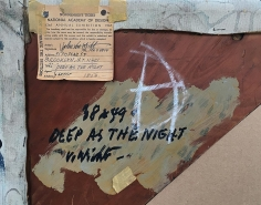 """Label verso on """"Deep as the Night"""" oil painting by John Von Wicht."""