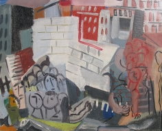 Casein tempera painting by Vaclav Vytlacil of City Scene with Faces (1932).
