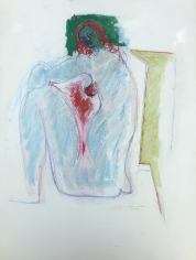 Untitled 1972 pastel of seated nude by Hans Burkhardt.