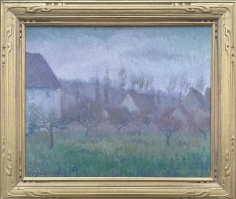 """Frame view of """"Farm Orchard in Winter Giverny"""" by Theodore Earl Butler."""