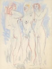 Untitled 1973 Hans Burkhardt pastel of three nude women.
