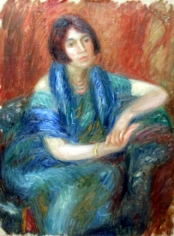 William Glackens (American, 1870-1938)  Girl with Blue Scarf, 1920  Oil on canvas