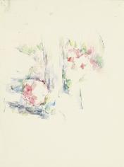 Paul Cezanne (French, 1839-1906)  Tronc d'arbre et fleurs, c. 1900  Watercolor and pencil on paper