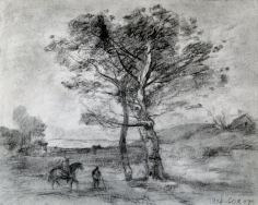 Jean-Baptiste-Camille Corot (French, 1796-1875)  A Horseman and Traveler on Foot Nearing Two Trees, 1874  Charcoal and black chalk on laid paper