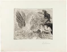 Pablo Picasso (1881 – 1973)  TAUREAU AILÉ CONTEMPLÉ PAR QUATRE ENFANTS, 1934  From the deluxe edition of the Suite Vollard