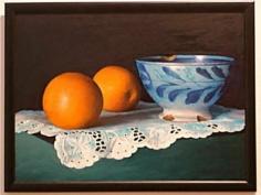 Oliver Johnson(1948-)  Still Life with Bowl & Oranges c. 1995 Oil on panel