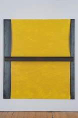 Untitled 2014 iron panel, oil on canvas and steel beam