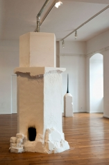 Tamaris 2012 mixed media installation: salt, water, autoclaved cellular concrete, zinc, steel, coal dimension variable