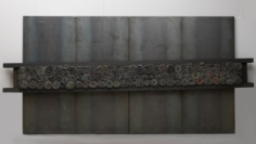 Untitled, 1998 iron panels, lead, cloth