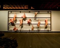 Untitled 1998 steel, meat, ropes, hooks
