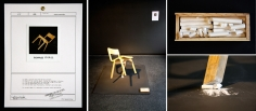 R=O 2009 chair, chalk, document, a square black board