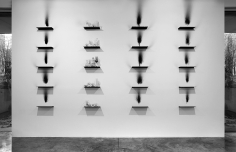 Metamorphosis, 2012 steel shelves, smoke, glass