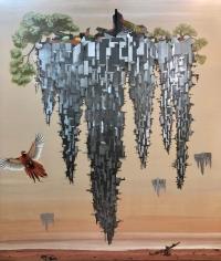 Jagannath Panda (b.1970)  Where city meets Sea-1, 2018  Acrylic, Fabric, glue.  90h x 78w in