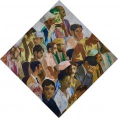 Salman Toor, Male Audience, 2018, Oil on panel, 30 x 30 in