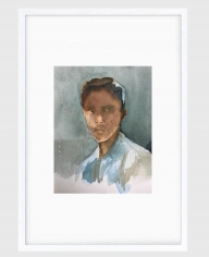 Sujith S.N.  Untitled (Portrait) 14, 2020  Watercolor on paper  6h x 6.50w in