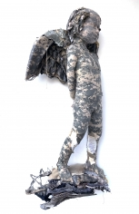 Ruby Chishti  Wandering  2020  Old military jacket, polyester, wire mesh, thread  47h x 28w x 10d in